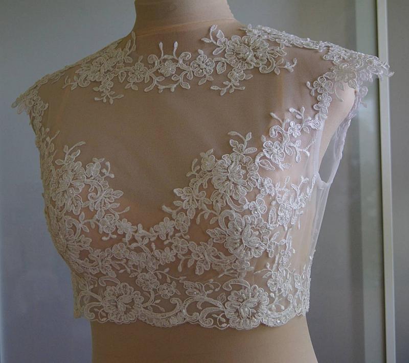 Вышивка бисером по сетке на платье