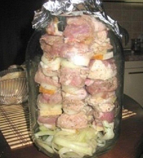 Шашлык из банки в духовке рецепт с фото