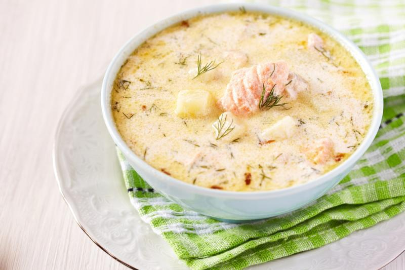 Суп из лосося со сливками рецепт фото