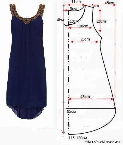 Сшить платье из трикотажа и шифона своими руками