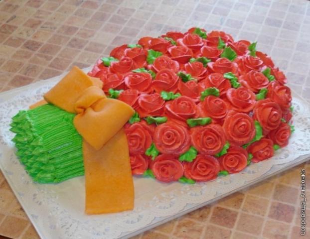 Торт в виде букета цветов фото из крема мастер класс