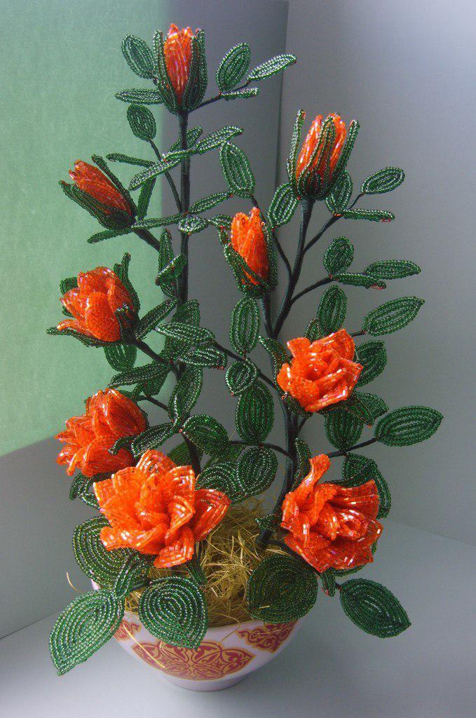 Как сделать цветок с бисера видео