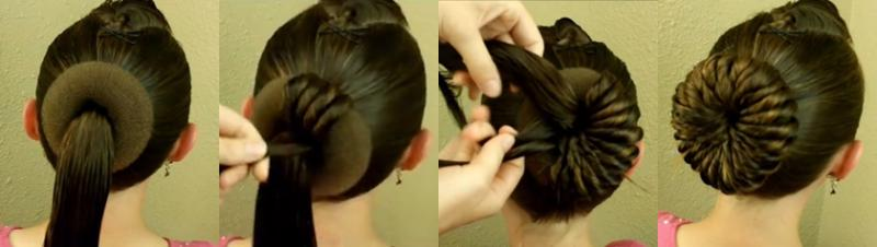 Пучки на длинные волосы с бубликом пошагово
