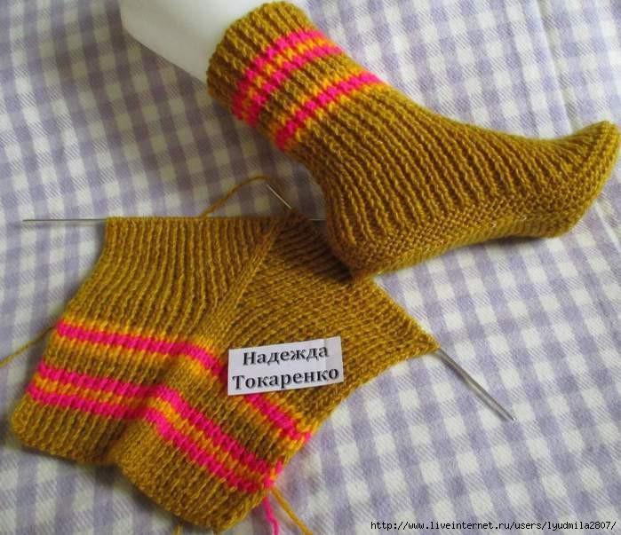 Вязания на двух спицах носки видео