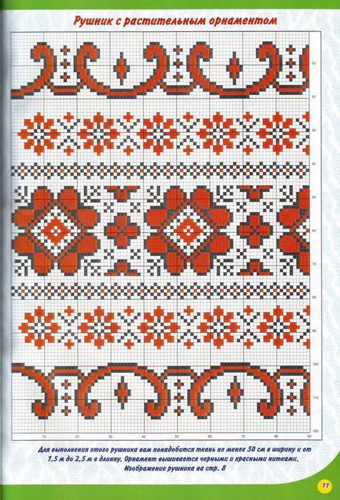 Узоры на рушник схемы вышивок