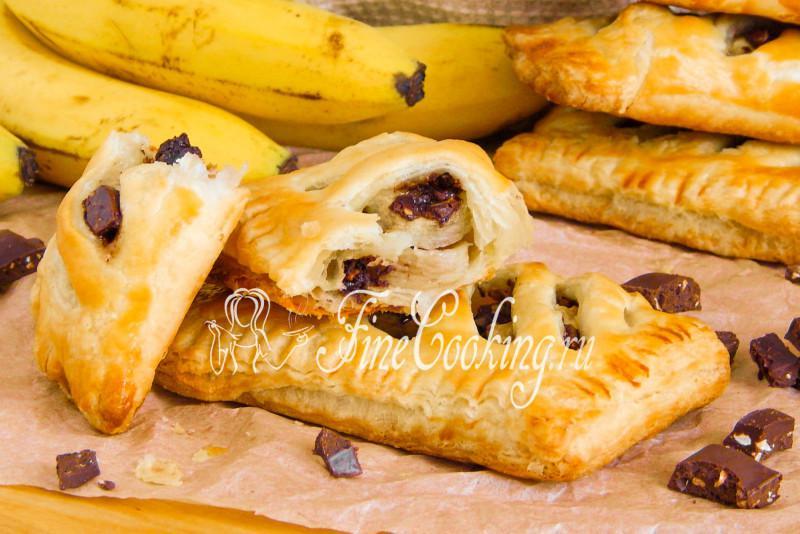 Пирог слоеный с бананом и шоколадом рецепт