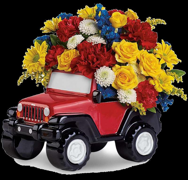 Открытки цветов в машине, новогодний