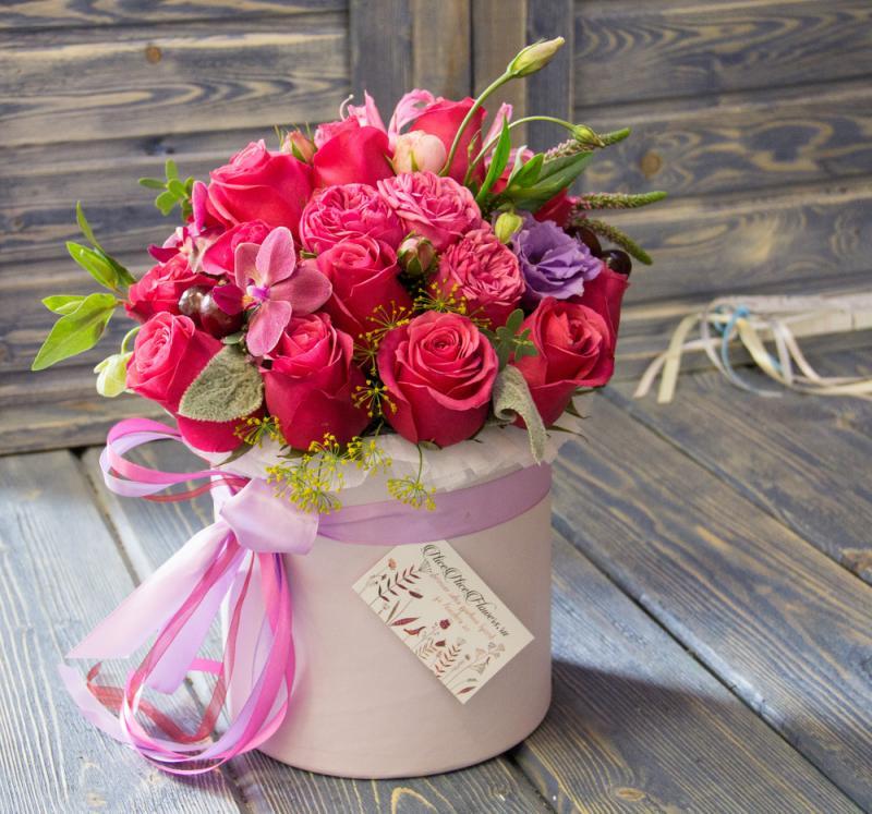 Открытки с днем рождения женщине красивые букеты в коробках