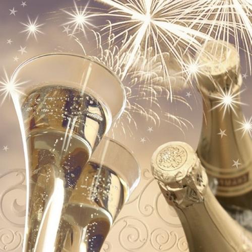 Открытка брызги шампанского с днем рождения